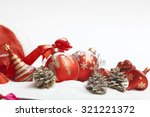 christmas ball with red bow and ... | Shutterstock . vector #321221372