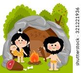 cavemen family in stone cave.    Shutterstock .eps vector #321221936