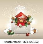 christmas card. open envelope ... | Shutterstock .eps vector #321223262