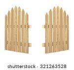 Wooden Gate On White Backgroun...