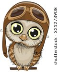 Stock vector cute cartoon owl in a pilot hat on a white background 321273908