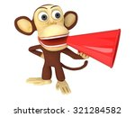 3d funny monkey with huge red... | Shutterstock . vector #321284582