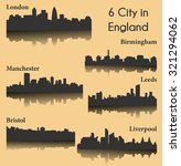 6 city silhouette in england ... | Shutterstock .eps vector #321294062