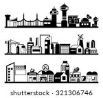 set of silhouette cityscapes ... | Shutterstock .eps vector #321306746