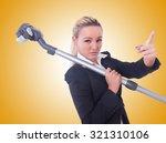 businesswoman with vacuum... | Shutterstock . vector #321310106