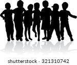 children silhouettes. | Shutterstock .eps vector #321310742