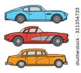 vector set of retro cars....   Shutterstock .eps vector #321356735