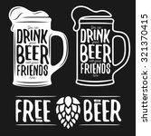 Set Of Beer Typography Vintage...