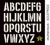 stencil plate sanserif font in... | Shutterstock .eps vector #321379022