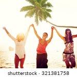 cheerful young women... | Shutterstock . vector #321381758