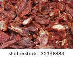 Sun Dried Tomatoes at a farmers market - stock photo