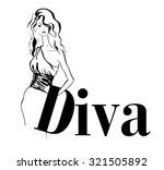 vector beautiful diva woman in... | Shutterstock .eps vector #321505892