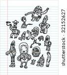 robots hand drawn set 2  ... | Shutterstock .eps vector #32152627