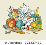 freehand school items in a pile ...   Shutterstock .eps vector #321527432
