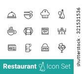 restaurant outline icon set of... | Shutterstock .eps vector #321531536
