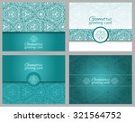 Set Of Teal  Aqua Greeting...