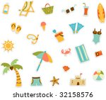cartoon beach set of sticker... | Shutterstock .eps vector #32158576