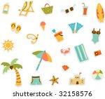 cartoon beach set of sticker... | Shutterstock .eps vector #32158576