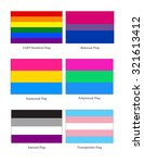 lgbt flags  flag pole style   6 ... | Shutterstock .eps vector #321613412