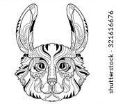 rabbit head zentangle doodle ... | Shutterstock .eps vector #321616676
