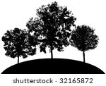 3 vector tree silhouettes on a... | Shutterstock .eps vector #32165872