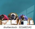 students brainstorming team... | Shutterstock . vector #321682142