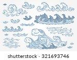 Vector Set Of Sea Waves   Hand...