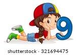 little girl holding number nine ... | Shutterstock .eps vector #321694475