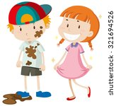 dirty boy and clean girl...   Shutterstock .eps vector #321694526