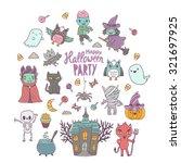 happy halloween cute characters ... | Shutterstock .eps vector #321697925