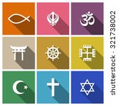 world religion symbols flat set ... | Shutterstock . vector #321738002