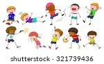 boys doing different activities ... | Shutterstock .eps vector #321739436