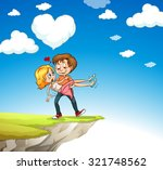 man carrying woman on the cliff ... | Shutterstock .eps vector #321748562