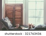 warm and cozy window seat with... | Shutterstock . vector #321763436