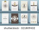 set of  nautical brochures in... | Shutterstock .eps vector #321809432