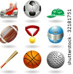Series set of shiny color icons or design elements related to sports - stock photo