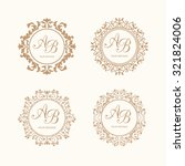 Set Of Elegant Floral Monogram...