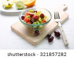 Fruit Salad In Glass Bowl  On...