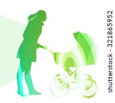 mother with baby strollers ... | Shutterstock .eps vector #321865952