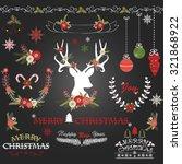 chalkboard merry christmas... | Shutterstock .eps vector #321868922