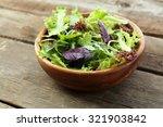 Fresh Mixed Green Salad In Bowl ...