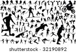 set of vector silhouettes of... | Shutterstock .eps vector #32190892