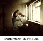 Young Beautiful Woman Sniper...