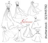 8 wedding dresses vector set.... | Shutterstock .eps vector #321945782
