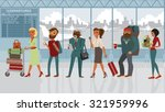 queue of various people in the... | Shutterstock .eps vector #321959996