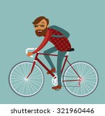 young man hipster riding bike.... | Shutterstock .eps vector #321960446
