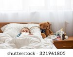 sick child boy lying in bed... | Shutterstock . vector #321961805