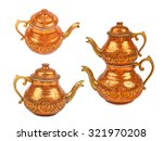 Set Of Copper Kettle Isolated...