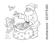 coloring book or page. santa... | Shutterstock .eps vector #321975182