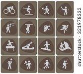 sport icon set white